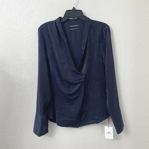 Something Navy Wrap Style Navy Blouse Top NWT
